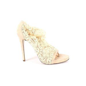 Ermanno Scervino Ankle Heel Boots Nude Lace Suede